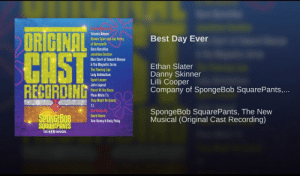 Just your friendly reminder that the SpondgeBob Musical is 🔥af: Yolanda Adams  ORIGINAL  Best Day Ever  Steven Tyler and Joe Perry  Sara Bareilles  Jonathan Coulton  CAST  Alex Ebert of Edward Sharpe  The Magnetic Zeras  The Flaming Lips  Lady Antebellum  Cyndi Lauper  John Legend  Ethan Slater  Danny Skinner  Lilli Cooper  Company of SpongeBob SquarePants,...  RECURDINC  Panic! At the Disco  Plain White Ts  They Might Be Giants  milumAnd Songs By  David Bowie  Tom Kenny & Andy Paley  SpongeBob SquarePants, The New  Musical (Original Cast Recording)  SQUAREPANTS  THE NEW MUSICAL Just your friendly reminder that the SpondgeBob Musical is 🔥af