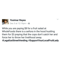 Memes, Rey, and Struggle: Yosimar Reyes  Dec 5 at 12:19pm  While you are paying $8 for a fruit salad at  WholeFoods there is a senora in the hood hustling  them for $3 praying that the cops don't catch her and  force her to throw her livelihood away.  True story 💔❤ our struggle our livelihood respect dignity LegalizeStreetVending