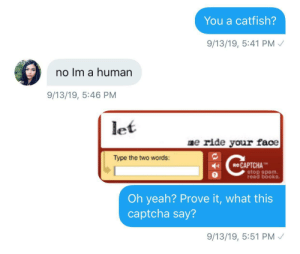 I was sure that'd work..: You a catfish?  9/13/19, 5:41 PM  no Im a human  9/13/19, 5:46 PM  let  me ride your face  Type the two words:  eCAPTCHA  stop spam  read books.  Oh yeah? Prove it, what this  captcha say?  9/13/19, 5:51 PM I was sure that'd work..