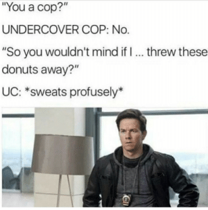 """Tumblr, Blog, and Donuts: You a cop?""""  UNDERCOVER COP: No.  """"So you wouldn't mind if I. threw these  donuts away?""""  UC: *sweats profusely* memehumor:Don't you dare"""
