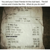 Club, Friends, and Memes: You and your 3 best friends hi the club hard... The bill  comes and it looks like this...What do you do next?  Los Angeles, CA 90028  323.525.2450  BRITTANY  33/1  Chk 7505  Jun28' 11 12:17AM  Gst 1  Table  8 Bottle Water  3 MAG Grey Goose  48.00  2550.00  850.00  4400.00  2 BTL Patron Silvr  4, Ace of Spades  SPIRITUALWORD  7848.00  1569.60  SUBTOTAL  20% SERVICE  TAX  918.22  0 31AH TOTAL DUE10335.82 Your bill after last night comes out like this.. what do you do?! 👀🤔💸 WSHH