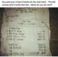 Club, Friends, and Memes: You and your 3 best friends hit the club hard... The bill  comes and it looks like this...What do you do next?  Los Angeles, CA 90028  323,525.2450  28 BRITTANY  33/1  Chk 7505  Jun28' 11 12:17AM  Gst 1  Table  8 Bottle Water  3 MAG Grey Goose  2 BTL Patron Silvr  4, Ace of Spades  46.00  2550.00  850.00  4400.00  SUBTOTAL  20% SERVICE  TAX  7848.00  1569.60  918.22  0 31AN TOTAL DUE 10335.82 What do you do? 🤔 https://t.co/qdvLjY3uxM