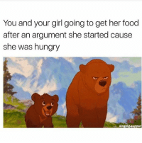 Facts, Food, and Hungry: You and your girl going to get her food  after an argument she started cause  she was hungry  singing suppor 😒😒 facts @pmwhiphop