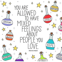 Love, Art, and Class: YOU ARE  ALLOWED  COMFORT  ANGER  FEELINGS  ABOUT  PEOPLE YOU  LOVE OPE  ePOSITIVELYPRESENT  SADN  RISGUST art by @positivelypresent​