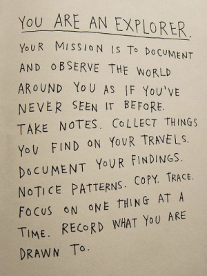 travels: You ARE AN EXPLORER  OUR MISSIO N IS To DoCUMENT  AND O BSERVE THE WORLD  AROUND Yo U AS IF You'vE  NEVER SEEN IT BEFORE.  TAKE NOTES. CoLLECT THINGs  YoV FIND ON YovR TRAVELS.  DOCUMENT YoUR FINDINGS.  NOTICE PATTERNS. COPY. TRACE  FoCuS N ONE THING AT A  TIME. RECORD WHAT YoU ARE  DRAWN To.