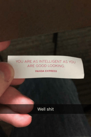 Shit, Panda, and Express: YOU ARE AS INTELLIGENT AS YOU  ARE GOOD LOOKING.  PANDA EXPRESS  Well shit meirl