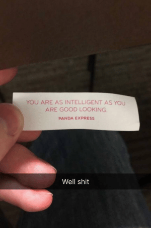 meirl: YOU ARE AS INTELLIGENT AS YOU  ARE GOOD LOOKING  PANDA EXPRESS  Well shit meirl