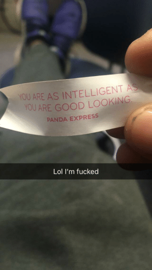 Lol, Panda, and Express: YOU ARE AS INTELLIGENT  YOU ARE GOOD LOOKING  PANDA EXPRESS  Lol I'm fucked So I had a fortune cookie today