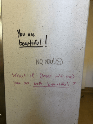 Wholesome bathroom graffiti: You are  beatiful  NO YOu!  What if Cbear with me)  you are both beautiful? Wholesome bathroom graffiti
