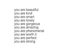 phenomenal: you are beautiful  you are kind  you are smart  you are lovely  you are gorgeous  you are amazing  you are phenomenal  you are worth it  you are perfect  you are strong