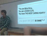"Beautiful, Memes, and Tumblr: ""You are BEAUTIFUL.  You are LOOKIN'CUTE.  You have THE MOST CARING HEART!!""  you guys are just so  sweet Λ_A <p><a href=""https://w2wmemetalks.tumblr.com/post/172388607934/i-like-making-nice-memes"" class=""tumblr_blog"">w2wmemetalks</a>:</p>  <blockquote><p>I like making nice memes. <br/></p></blockquote>"