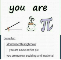 Acutal: you are  boner fart  idonotneedthisrightnow:  you are acute coffee pie  you are narrow, scalding and irrational