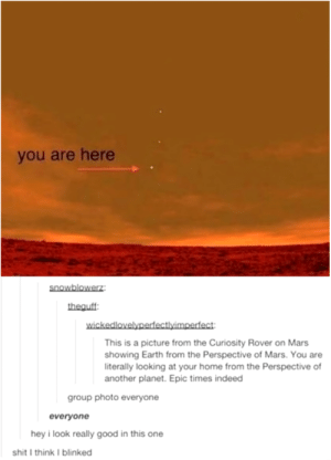 Dank, Memes, and Shit: you are here  snowblowerz  theauff  wickedlovelyperfectlyimpedect  This is a picture from the Curiosity Rover on Mars  showing Earth from the Perspective of Mars. You are  iterally looking at your home from the Perspective of  another planet. Epic times indeed  group photo everyone  everyone  hey i look really good in this one  shit I think I blinked Ahh crap not again by Blunt_Machette MORE MEMES