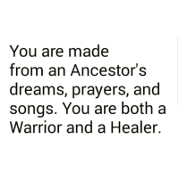 Memes, Image, and Songs: You are made  from an Ancestor's  dreams, prayers, and  songs. You are both a  Warrior and a Healer. This! 💜✊🏾 . Image via @indigenous1492