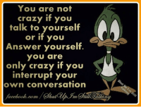 Crazy, Memes, and Converse: You are not  crazy if you  talk to yourself  if you  Answer yourself  YOU are  only crazy if you  interrupt your  own conversation  acebook.com/C hat