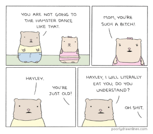 Hamstershttp://meme-rage.tumblr.com: YOU ARE NOT GOING TO  THE HAMSTER DANCE  LIKE THAT  MoM, YOURE  SUCH A BITCH!  오  오  HAYLEY UILL LITERALLY  EAT YOU, DO YOU  UNDERSTAND?  HAYLEY  YOU'RE  JUST OLD!  OH SHIT  오  poorlydrawnlines.com Hamstershttp://meme-rage.tumblr.com