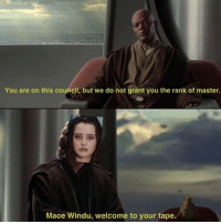 Sent in by: Camron Logan: You are on this council, but we do not grant you the rank of master.  Mace Windu, welcome to your tape. Sent in by: Camron Logan