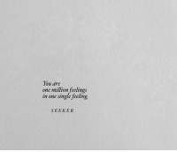 Single, One, and You: You are  one million feelings  in one single feeling  SEEKER
