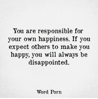 make your own meme: You are responsible for  your own happiness. If you  expect others to make you  happy, you will always be  disappointed.  Word Porn