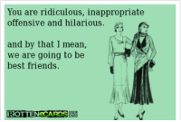 inappropriate: You are ridiculous, inappropriate  offensive and hilarious.  and by that I mean,  we are going to be  best friends.  ROTTEN CARDSUR
