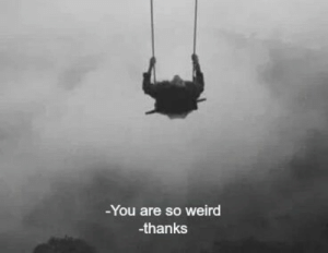 Weird, You, and Thanks: -You are so weird  -thanks