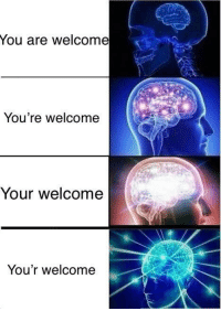 You are welcome  You're welcome  Your welcome  You'r welcome