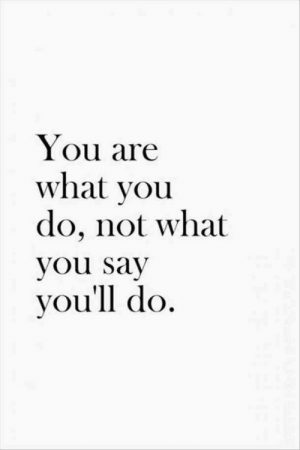 what you say: You are  what you  do, not what  you say  you'll do