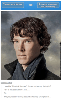 "Memes, Sherlock Holmes, and Sherlock: You are world famous  but  Everyone pronounces  your name wrong  h3rmitsunited  was like ""Sherlock Holmes Are we not saying that right?  How is it supposed to be said.  They're probably talking about Barflesnarp Crumpleface Cummerbund Bandersnatch, as my mom calls him.  JW"