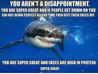 """<p>No one is perfect and you are not a disappointment. Have a great day! via /r/wholesomememes <a href=""""http://ift.tt/2vgyEgE"""">http://ift.tt/2vgyEgE</a></p>: YOU AREN'T A DISAPPOINTMENT  YOU ARE SUPER GREAT AND IF PEOPLE GET DOWN ON YOU  FOR NOT BEING PERFECT ALL THE TIME THEN BITE THEIR FACES OFF  YOU ARE SUPER GREAT AND FACES ARE HIGH IN PROTEIN.  SUPER GREAT <p>No one is perfect and you are not a disappointment. Have a great day! via /r/wholesomememes <a href=""""http://ift.tt/2vgyEgE"""">http://ift.tt/2vgyEgE</a></p>"""
