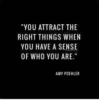 "Sense Of Right: ""YOU ATTRACT THE  RIGHT THINGS WHEN  YOU HAVE A SENSE  OF WHO YOU ARE.""  AMY POEHLER"