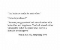 "puppy-love: ""You both are made for each other.""  ""How do you know?""  ""Because you guys don't look at each other with  butterflies and happiness. You look at each other  with reality but at the same time, there's a  fairytale awaiting you.  this is real life, not puppy love"