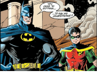 meara-eldestofthemall:Tim was so tiny and cute when he was a little, bitty Robin. I love the fact that he's copying Batman's pose and that, despite only coming up to Bruce's shoulder, looks like he's completely capable of taking down any of the sundry forces of evil that he comes across. Good things really do come in small packages.: YOU  CAME TO  GOTHAM.,  TO ASK ME  QLIESTIONS meara-eldestofthemall:Tim was so tiny and cute when he was a little, bitty Robin. I love the fact that he's copying Batman's pose and that, despite only coming up to Bruce's shoulder, looks like he's completely capable of taking down any of the sundry forces of evil that he comes across. Good things really do come in small packages.