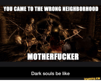 Dark Souls: YOU CAME TO THE WRONG NEIGHBORHOOD  MOTHERFUCKER  Dark souls be like  ifunny.CO