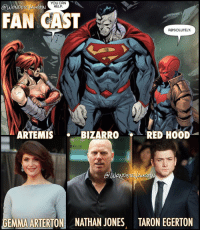 "Memes, Prince, and Mad Max: you CAN  BUWONDEr  HELP.  FAN CAST  ABSOLUTELY.  ARTEMIS  BIZARRO  RED HOOD  GEMMA ARTERTON NATHAN JONES TARON EGERTON The ""DARK TRINITY"" Fan Cast! Here are MY picks for these characters to join the DCEU. Who would you like? * ARTEMIS - Gemma Arterton (Age: 31, Ht: 5' 7"") Notable Films: ""Hansel & Gretel: Witch Hunters"", ""Clash of the Titans"", ""Prince of Persia"" * BIZARRO - Nathan Jones (Age: 49, Ht: 7' 0"") Notable Films: ""Mad Max: Fury Road"", ""Troy"", ""Fearless"" * RED HOOD - Taron Egerton (Age: 27, Ht: 5' 10"") Notable Films: ""Kingsman: The Secret Service"", ""Eddie the Eagle"", ""Sing"" *** @gemmaartertonofficial nathanjones taronegerton"