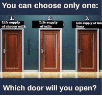 Which one?: You can choose only one:  1.  Life supply  2.  3.  Life supply  of milo  Life supply of tim  Tams  of choccy milk  Which door will you open? Which one?