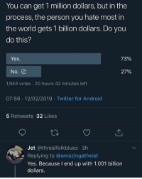 Android, Mood, and Twitter: You can get 1 million dollars, but in the  process, the person you hate most in  the world gets 1 billion dollars. Do you  do this?  Yes.  73%  No. O  27%  1,943 votes 20 hours 42 minutes left  07:56 .12/02/2019 Twitter for Android  5 Retweets 32 Likes  Jet @threalfolkblues 3h  Replying to @amazingatheist  Yes. Because I end up with 1.001 billion  dollars. Is this a mood