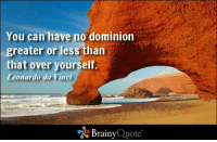 Leonardo Da Vinci, Memes, and 🤖: You can have no dominion  greater or less than  that over yourself.  Leonardo da  Vinci  Brainy  Quote You can have no dominion greater or less than that over yourself. - Leonardo da Vinci