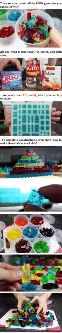 Candy, Lego, and How To: You can now make edible LEGO gummies you  can build with!  All you need is gelatin/Jell-0, water, and corn  syrup..  Karo  elatine  JELLO  ...and a silicone LEGO mold, which you can buy  or make  The complete constructions even show how to  make these bricks stackable! <p>Edible And Stackable LEGO Gummy Candy.</p>