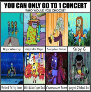 SpongeBob, Boys, and Player: YOU CAN ONLY GO TO1 CONCERT  WHO WOULD YOU CHOOSE?  Boys Who Cry Didgeridoo Player Spongebob Clarinet Kelpy G The toughest decision