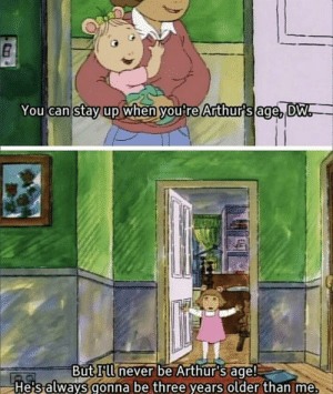 Yeah, Mean, and Can: You can  stay  up when you re Arthurs age DW  But HWnever be Arthur's age!  He salways gonna be three years older than me. I mean, yeah