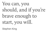 Stephen, Brave, and Stephen King: You can, you  should, and if you're  brave enough to  start, you will  Stephen King
