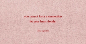 Connection: you cannot force a connection  let your heart decide  dika agustin