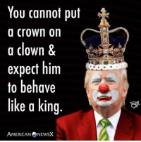 Some of the truest words ever written.  This J.C. classic from American News X.: You cannot put  a crown on  a clown &  expect him  to behave  like a king  AMERICAN NEWSX Some of the truest words ever written.  This J.C. classic from American News X.