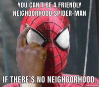 Spiderman: YOU CAN'T BE A FRIENDLY  NEIGHBORHOOD SPIDER-MAN  IF THERE'S NO NEIGHBORHOOD  mematic net