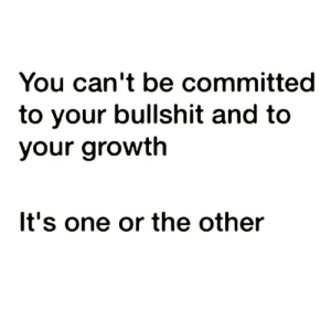 https://t.co/UFt1YdTEZ1: You can't be committed  to your bullshit and to  your growth  It's one or the other https://t.co/UFt1YdTEZ1