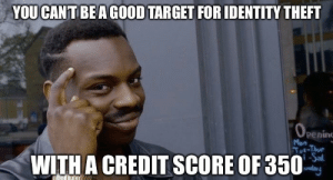 Target, Credit Score, and Identity Theft: YOU CANT BEAGOOD TARGET FOR IDENTITY THEFT  O PENIN  Peninc  Mon  Tut-Thu  -Sal  |unday  WITH A CREDIT SCORE OF 350 There's a bright side to everything