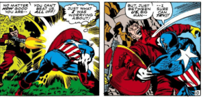 I'm sure you are, Cap.: You CAN'T  BEAT US  ALL OFF!  BUT, JUST  BETWEEN  US, BIG  MAN--  NO MATTER  HOW GOOD  YOU ARE--  --.  SURE  CAN  TRY!  JUST WHAT  I WAS  WORRYING  ABOUT!  10 I'm sure you are, Cap.