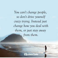 Drive, Change, and How: You can't change people,  so don't drive yourself  craxy trying. Instead just  change how you deal with  them, or just stay away  from them  uotes Gate