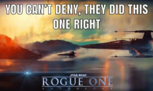 Star Wars, Rogue, and Star: YOU CAN'T DENY, THEY DID  THIS  ONE RIGHT  STAR WARS  ROGUE ONE It's pretty noice.