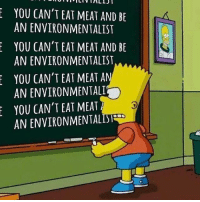 Memes, Word, and 🤖: YOU CAN'T EAT MEAT AND BE  AN ENVIRONMENTALIST  YOU CAN'T EAT MEAT AND BE  AN ENVIRONMENTALIST  YOU CAN'T EAT MEAT A  ANENVIRONMENTALI  YOU CAN'T EAT MEAT Word. govegan vegansofig mercyforanimals loveanimals environmentalist veganhumor